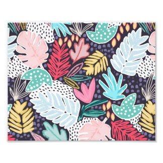 Colourful Tropical Collage Photo Print Navy