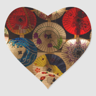 colourful umbrellas heart sticker