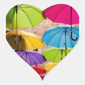 Colourful Umbrellas Heart Sticker