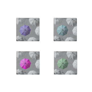 Colourful Umbrellas Mats Stone Magnet