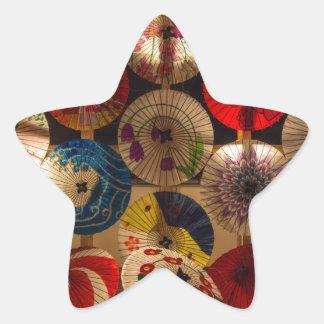colourful umbrellas star sticker