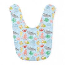 Colourful Underwater Animals Pattern for Babies Bib