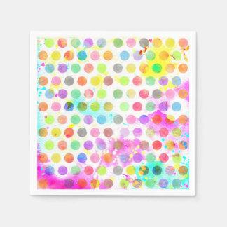 colourful vibrant watercolour splatters polka dots paper napkin