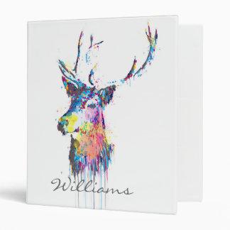 colourful vibrant watercolours splatters deer head 3 ring binders
