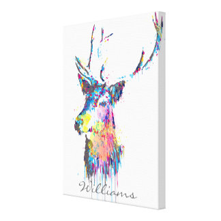 colourful vibrant watercolours splatters deer head stretched canvas print