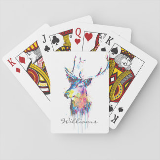 colourful vibrant watercolours splatters deer head playing cards