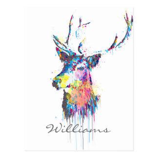 colourful vibrant watercolours splatters deer head post cards