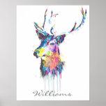colourful vibrant watercolours splatters deer head poster