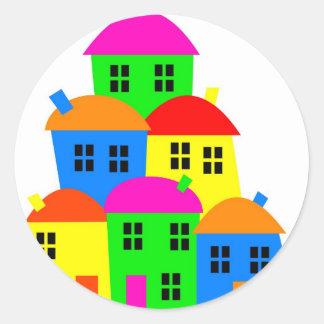 Colourful Village Classic Round Sticker