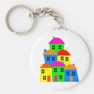 Colourful Village Keychain