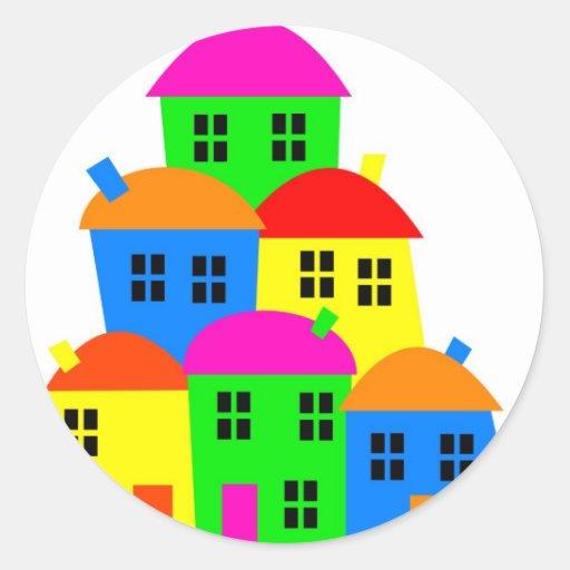 Colourful Village Round Sticker