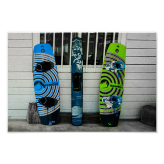 Colourful wakeboards. póster