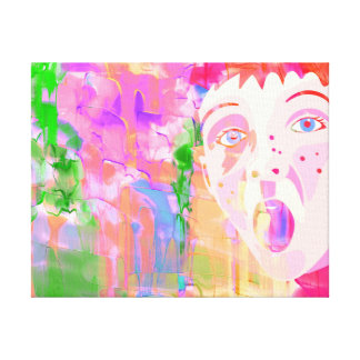 Colourful Watercolour Painting With Boy Face Canvas Print