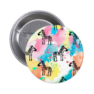 Colourful watercolour zebra print button
