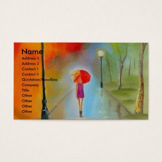 Colourful woman with a red umbrella business card