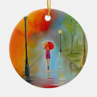 Colourful woman with a red umbrella ceramic ornament