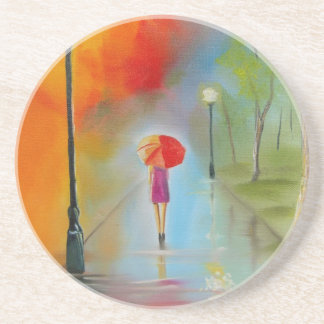 Colourful woman with a red umbrella drink coaster