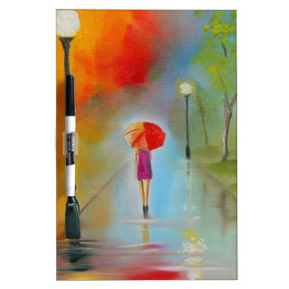 Colourful woman with a red umbrella Dry-Erase board
