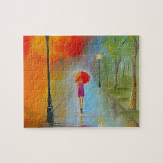 Colourful woman with a red umbrella jigsaw puzzles