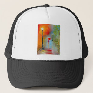 8d27e54d9253b Colourful woman with a red umbrella trucker hat