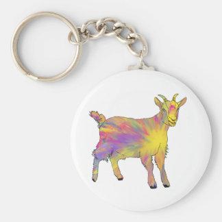 Colourful Yellow Flaming Art Goat Animal Design Keychain