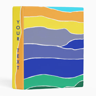 Colourful Yellow, Orange, Blue and Green Stripes Mini Binder