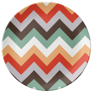 Colourful zigzag stripes dinner plate