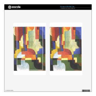 Colourfull forma en agosto Macke Skin Para Kindle Fire