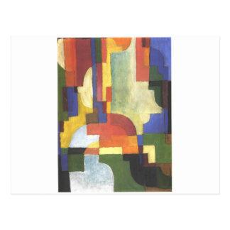 Colourfull forma en agosto Macke Tarjeta Postal