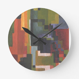Colourfull shapes by August Macke Round Wall Clock
