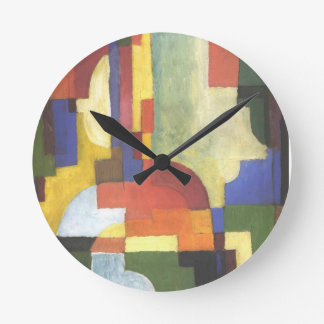 Colourfull shapes by August Macke Round Wallclocks