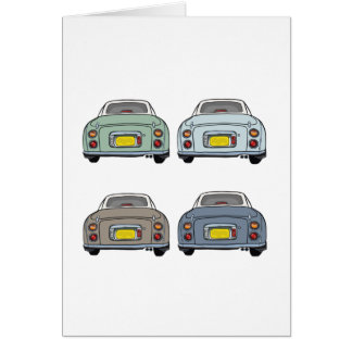 Colours of Nissan Figaro Car Blank Greeting Card