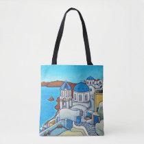 Colours of Santorini Shoulder Tote Bag