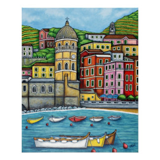 Colours of Vernazza, Cinque Terre Print by Lisa Lo