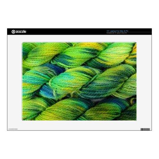 "ColourSpun Handyed Yarn- Greens 15"" Laptop Decals"