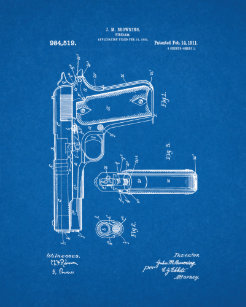 Gun blueprint art framed artwork zazzle colt 1911 gun patent blueprint poster malvernweather Images