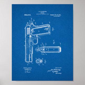 Colt 1911 Gun Patent - Blueprint Poster
