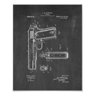 Colt 1911 Gun Patent - Chalkboard Poster