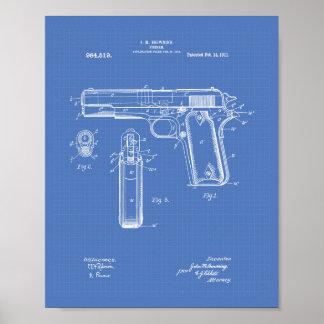Colt .45 1911 Patent Art - Blueprint Poster