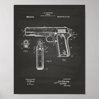 Colt .45 1911 Patent Art - Chalkboard Poster
