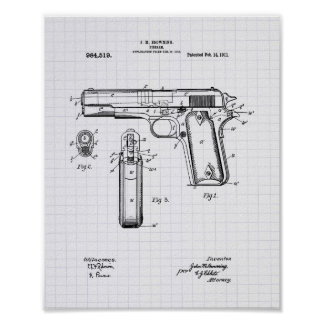 Colt .45 1911 Patent Art - Lined Peper Poster