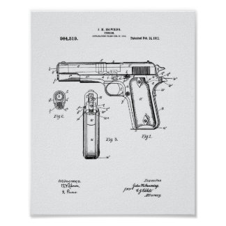Colt .45 1911 Patent Art - White Paper Poster