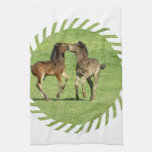 Colt and Foal Playing Kitchen Towel
