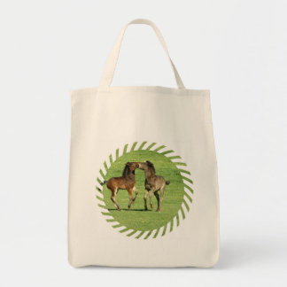 Colt and Foal Playing Organic Grocery Tote Bag