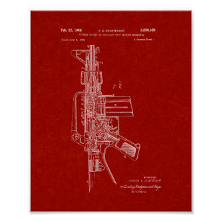Colt AR-15 Semi-Automatic Rifle Patent - Burgundy Poster