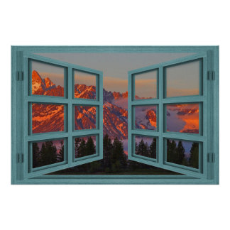 Colter Bay Green 6 Pane Open Window Poster