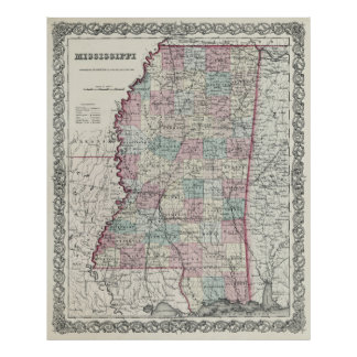 COLTON MAP of MISSISSIPPI  1855 Print