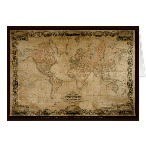 Colton's 1847 Antique Map Series Greeting Card