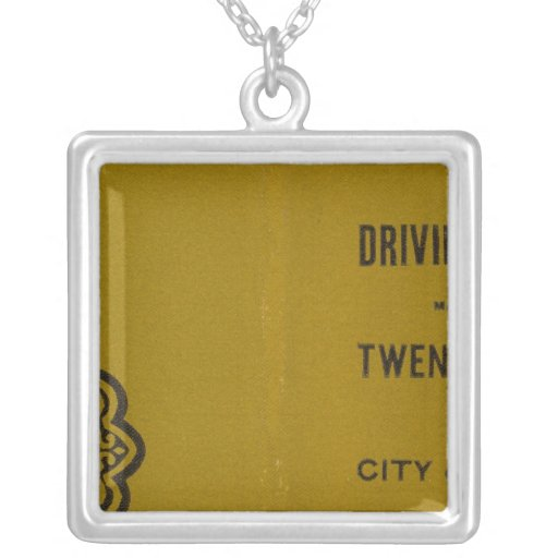 Colton's Driving and Wheeling Map of the US 3 Square Pendant Necklace