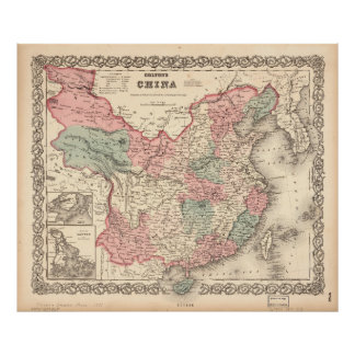 Colton's Map of China (1871) Poster